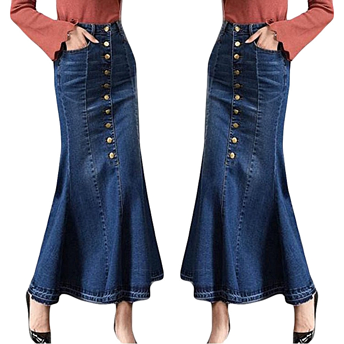 f10e4eff9 jiahsyc store Womens Fashion Long High Waist Button Pocket Front Fishtail Denim  Maxi Skirts-Blue