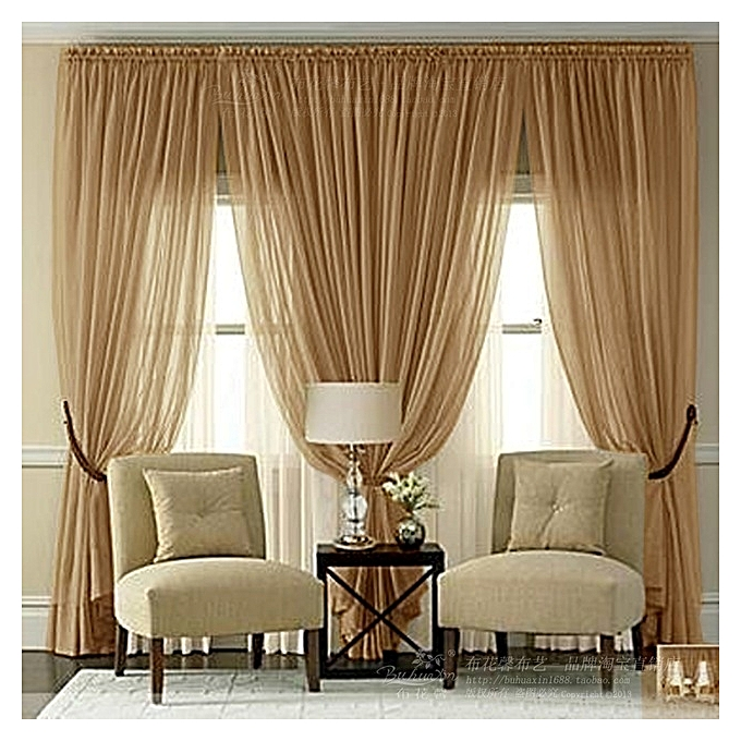 Generic Golden Brown Sheer Curtain-4pc @ Best Price