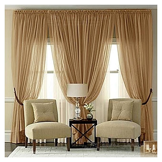 Kitchen Curtains In Kenya: Generic Golden Brown Sheer Curtain-4pc @ Best Price