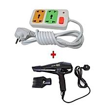 Super GEK 3000 Hairdryer + FREE 4-way Socket Extension Cable - 1700W - Black
