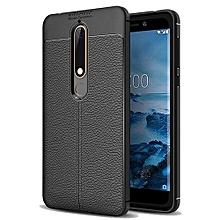 (Nokia 5 2018) Shock Proof Carbon Fiber Rugged Armor Soft Back Case Black