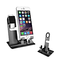 Aluminum Charger Dock Holder Stand For IWatch/iPhone -Black
