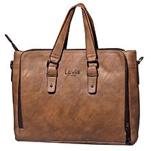 Leather Briefcase Mini Laptop Courier Bag