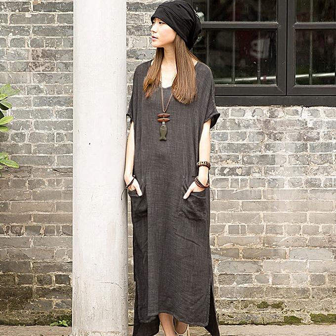 Women Retro Casual Loose Long Dress