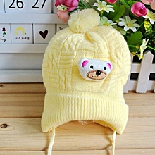 Baby Boy Girl Winter Warm Braided Knitted Crochet Cartoon Bear Beanie Beret Hat Yellow