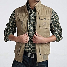 AFSJEEP Mens Big Size Casual Outdoor Washed Double Sided Wear Multi Functions Vest Khaki