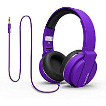 ENCORE- Purple On Ear Wired Headset With Cushioned Foldable Headband & ABS ear cups.