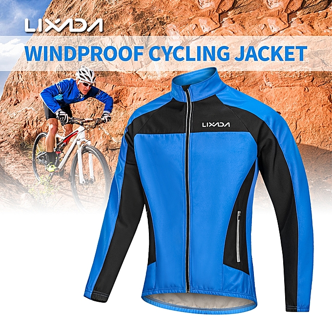 8c75ae2f3 Lixada Men s Winter Cycling Jacket Windproof Thermal Fleece Long Sleeve  Riding Bicycle Bike Wind Coat