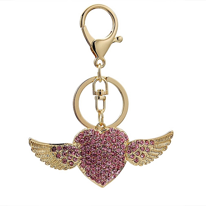 ... Angel Wing Heart Pendant Rhinestone Keyrings Key Chains Holder Gift  Keychain gold ... 492564ee8