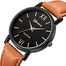 Men Women Leather Strap Line Analog Quartz Ladies Wrist Watches Fashion Watch