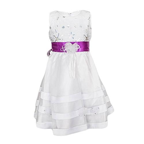 White Bridal S Dress With Violet Purple Ribbon Belt