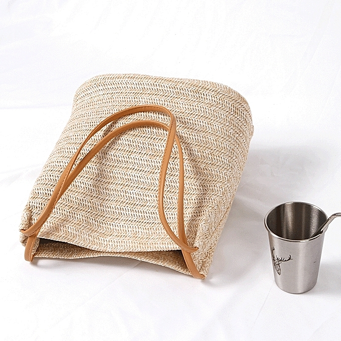 Light Beige Straw Large Korea Official Website With The Same Paragraph Casual Woven Shoulder