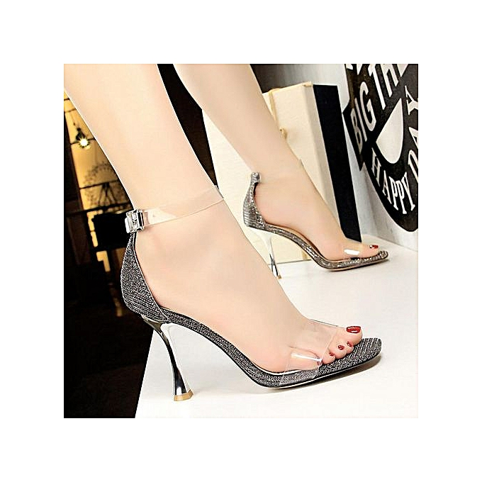 027c4e130a4 Fashion Heeled Sandals Square Heel High-Heeled Shoes Woman Pumps Peep Toe  Party Women Shoes Ankle Strap High Heels Transparent Straps Ladies Shoes
