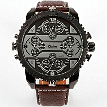 Watches, 3233 Men's Quartz Wristwatch Leather Strap 4 Time Zone Oversize Gear-shaped Bezel Watch - Brown