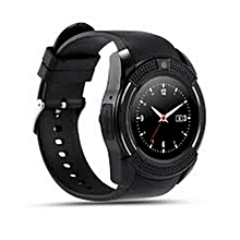 V8 Touch Screen Sporty Round Screen Smart Phone Watch Black