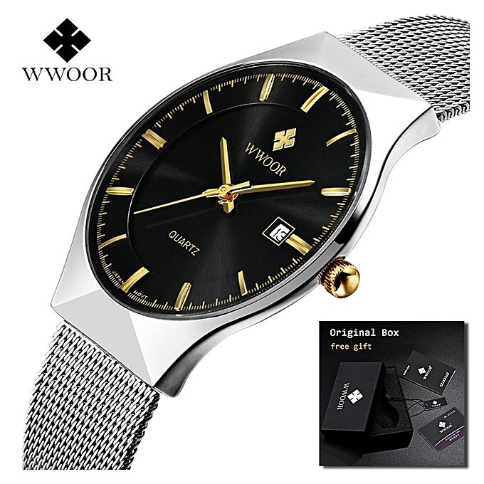 2018 WWOOR Ultra thin Fashion Male Wristwatch Top Brand Luxury Business  Watches Waterproof Scratch-resistant Men Watch Clock(Black)