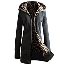 Women  Long Sleeve Hoodie Inside Leopard Coats - Intl