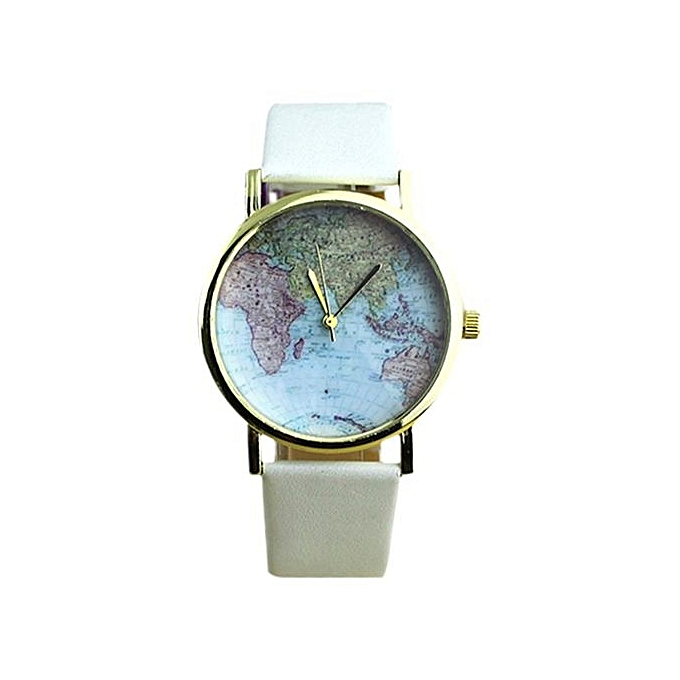 Buy bluelans world map white leather strap watch best price online world map white leather strap watch gumiabroncs Gallery