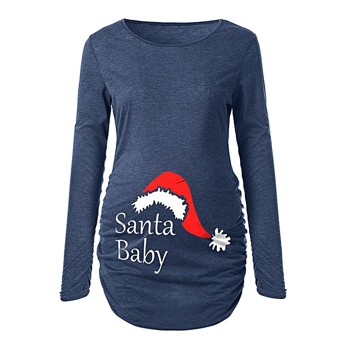 Maternity Christmas Dress.Boapsd Shop Women S Print Christmas Side Ruched Long Sleeve Maternity Top Pregnancy Clothes