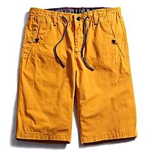Summer Men's 100% Cotton Cargo Shorts Fashion Pure Color Leisure Beach Shorts Pants