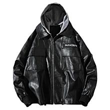 Faux Leather Detachable Hat Casual Jacket-BLACK