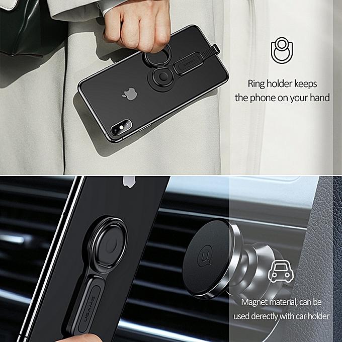 USAMS Lightning to 3 5mm Audio Lightning plug Ring Holder Adapter(Black)