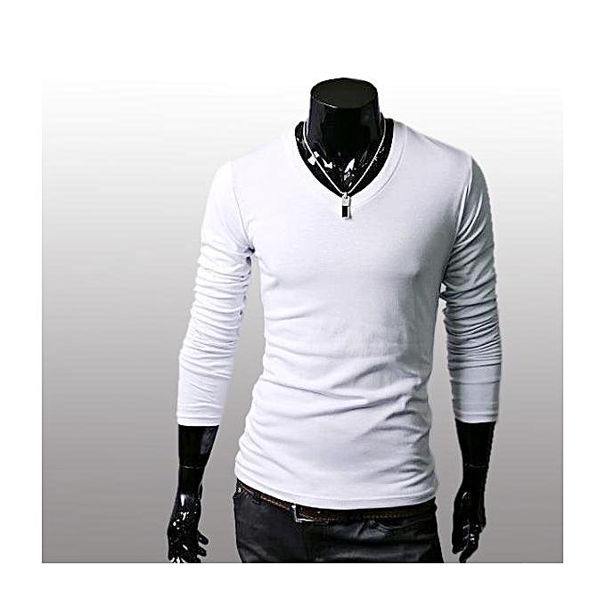 903fb583 Men Slim Fit Solid Color Stylish V Neck Long Sleeve T-shirts Tee Tops  M/L/XL/XXL-White