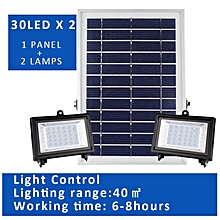 HonTai 1+2 1 Panel Drives 2 Lamps Solar Powered Floodlight Spotlight, Outdoor Waterproof Security 30/60 Led X2 Light Remote Control for Home, Garden, Lawn, Pool