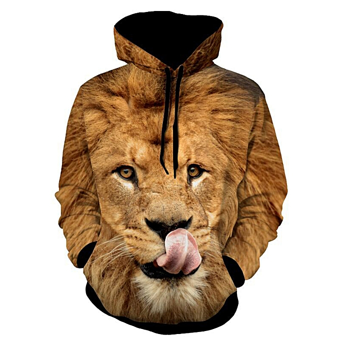 b1792848db Fashion Lion Patterned 3D Animal Hoodie - Yellow @ Best Price Online ...