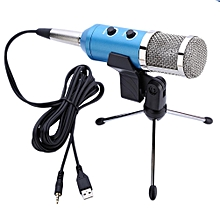 USB Condenser Reverberation Microphone for Recording Singing Karaoke Blue Body Silver Head