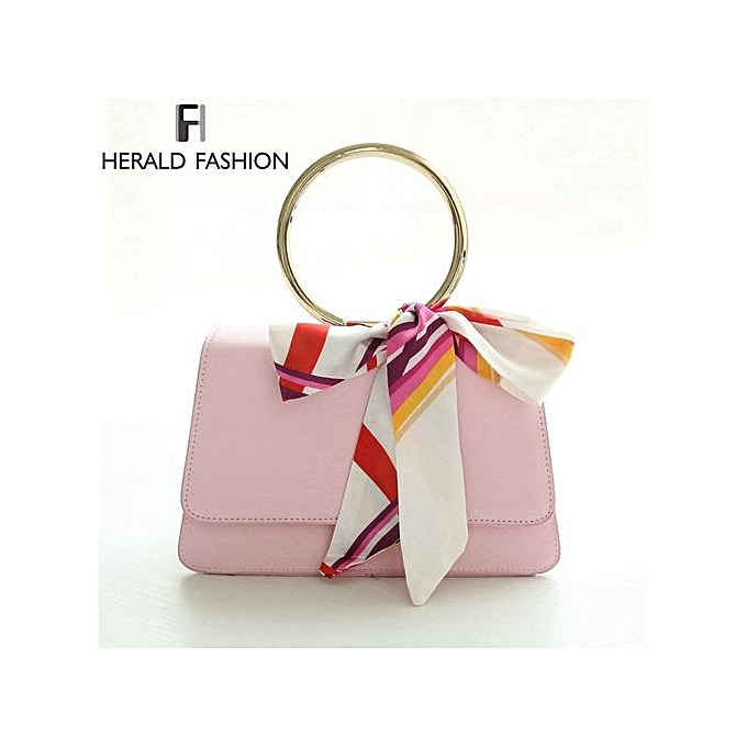 Circle Handle Women Flap Bag Scarf Shoulder Handbag High Quality Pu Leather Tote Messenger Bags