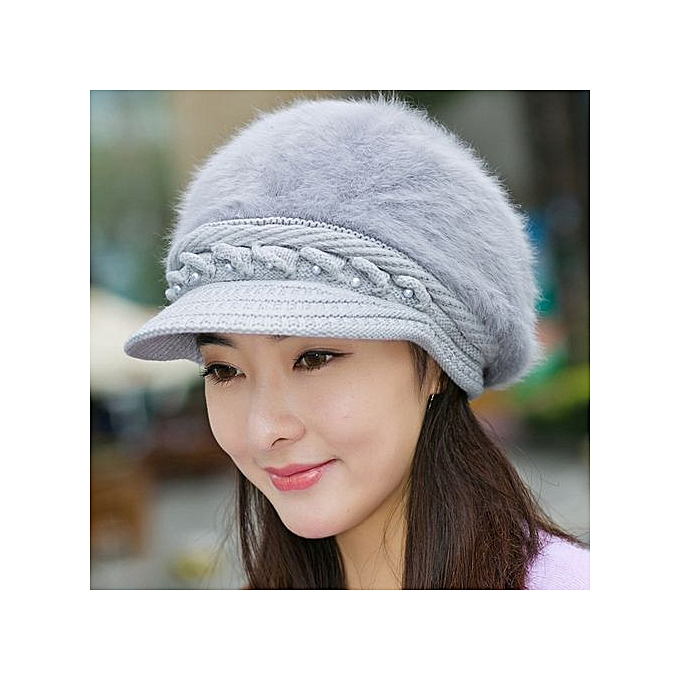 Zetenis Women Winter Warm Cap Knitted Hat Beret Baggy Beanie Hat Slouch Ski  Cap Grey - 9447b35b176