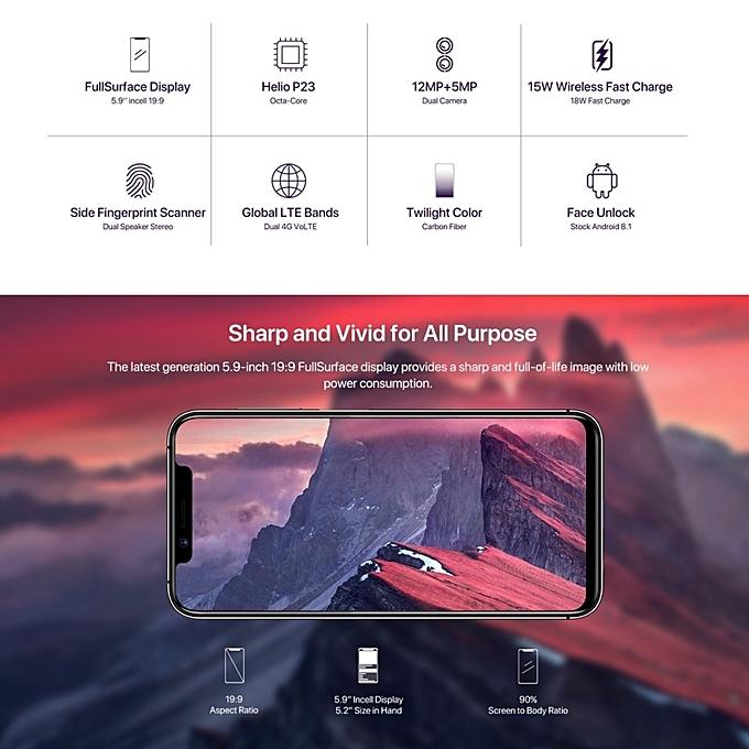 One Pro 4GB+64GB 5 9 inch Android 8 1 Dual SIM 4G Smartphone(Twilight)