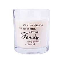 White scented candle: Off all the things that life has to offer... Family