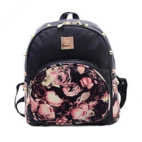 Fashion Zetenis Girl School Bag Travel Cute Backpack Satchel Women Shoulder Rucksack -Black