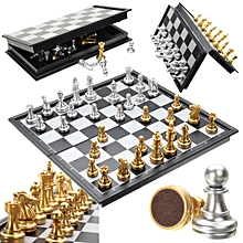 Magnetic Chess Game Silver & Gold Pieces Chess Folding Magnetic Foldable Board