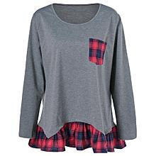 Plus Size Plaid Flounced T-Shirt - Gray