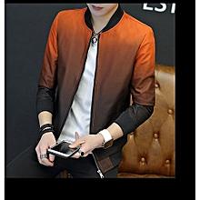Men's Hot Sale New Fashion Autumn And Winter Men's Gradient Jacket Youth Slim Thin Casual Baseball Coat-orange