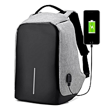 Waterproof Durable Leisure Travel Laptop Anti-theft Backpack with USB Charging Point - Slate Grey