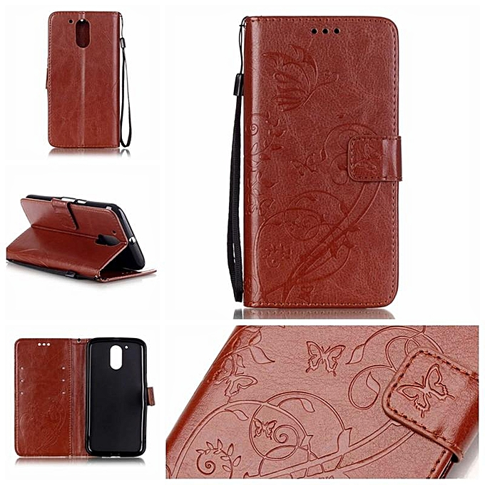 best sneakers cffdb 26a36 PU Leather Embossing Wallet Case Cover for Motorola Moto G4 / G4 Plus