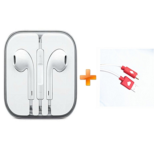 Earphones for iPhone - White,Get One Free LED Android Cable