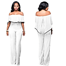 Ruffle Plain Bodycon Jumpsuits with Ankara Style-White