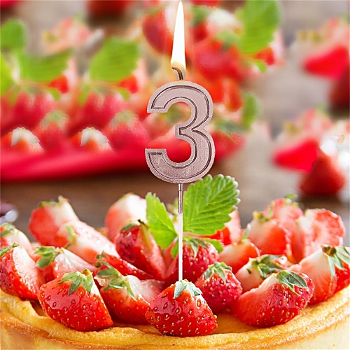 Generic Jummoon Shop Rose Gold Number 3 Birthday Numeral Candles Cake Decor For Adults Kids Party