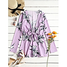 Flower Print Tied Plunge Mini Dress - LIGHT PURPLE