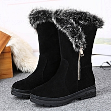 Fashion Ladies Women Boots Flat Winter Warm Snow Shoes BK/35- Black 35