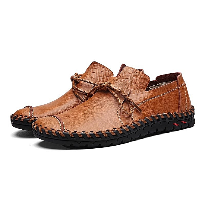 92ae8bfc539e Fashion Men Casual Flats Leather Outdoor Lace Up Soft Round Toe Oxfords  Slip-Ons Loafers