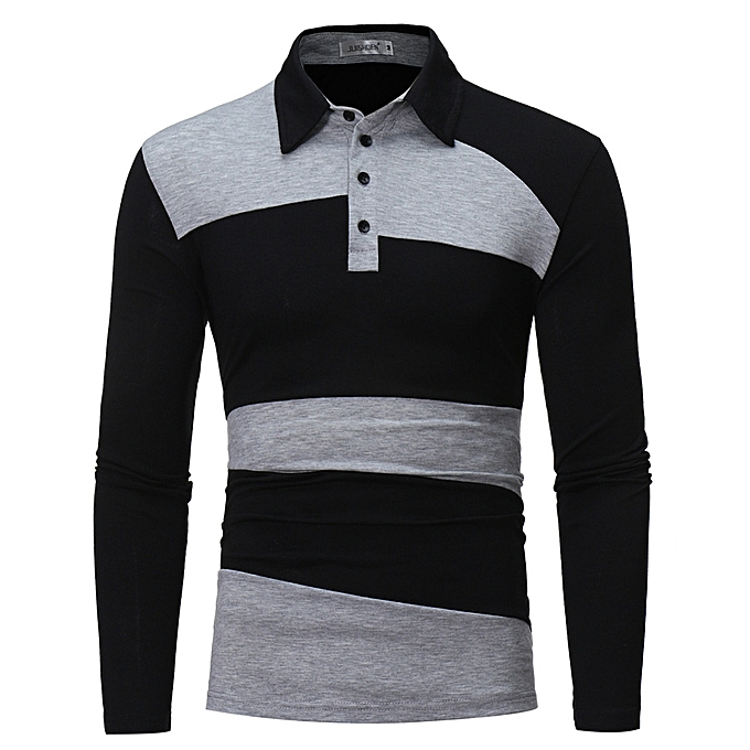 e3d2c550f2e6 Fashion Men Clothing Shirt Men's Long Sleeve Polo Shirt Striped Autumn  Winter Turn-Down Collar