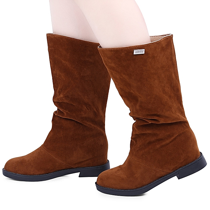 ad4f873bb70 Fashion Graceful Solid Color Flat Sole Ladies High Leg Boots - BROWN ...