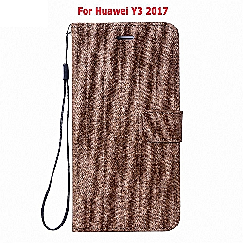 Flip Cover For Huawei Y3 2017 Woven Pattern Soft Leather Wallet Case Stand  360 Degrees Anti-falling/Shockproof Cover Cas