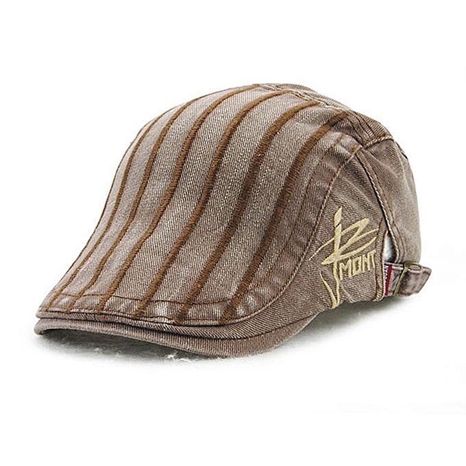 ... Unisex Cotton Embroidery Stripe Beret Hat Duckbill Golf Flat Buckle  Visor Cabbie Cap For Men Women ... 3803f461ed51